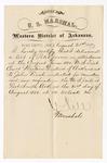 1880 August 21: Letter of certification, from V. Dell, U.S. marshal, certifying his deliverance of list of petit jurors for U.S. v. John Finch, murder