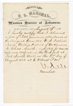 1880 August 27: Letter of certification, from V. Dell, U.S. marshal, certifying his deliverance of list of petit jurors for U.S. v. Charles Smith, murder