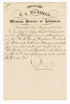 1880 August 21: Letter of certification, from V. Dell, U.S. marshal, certifying his deliverance of list of petit jurors for U.S. v. Charles Palmer, murder