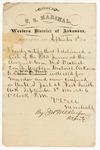 1880 September 3: Letter of certification, from V. Dell, U.S. marshal, certifying his deliverance of list of petit jurors for U.S. v. W.A.J. Finch, murder; J.H. Wilkinson, deputy