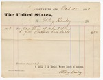 1880 October 25: Voucher, to Wiley Bailey; includes cost for one ton of straw to fill prison bed sacks; V. Dell, U.S. marshal