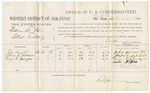 1880 November 8: Voucher, U.S. v. William B. Faim, illicit distilling; includes cost of per diem and mileage; John Barnett, Moses C. Mitchell, and George W. Landagain, witnesses; V. Dell, U.S. marshal; E.B. Harrison, commission and witness of signatures