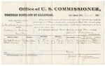 1880 November 15: Voucher, James Yanshtubbee (alias Jimmy James), larceny in Indian Country; includes cost of per diem and mileage; Randall Gardner and Robert Dawson, witnesses; E.H. Reeves, witness of signatures; V. Dell, U.S. marshal; James Brizzolara, commissioner