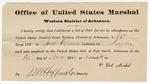 1880 November 16: Letter of certification, from V. Dell, U.S. marshal, certifying his deliverance of list of petit jurors for U.S. v. Jim Dunn, murder; J.M. Huffington, U.S. deputy marshal