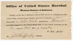1880 November 16: Letter of certification, from V. Dell, U.S. marshal, certifying his deliverance of list of petit jurors for U.S. v. John Finch, murder; J.M. Huffington, U.S. deputy marshal