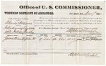 1880 December 7: Voucher, U.S. v. Charles Williams, introducing spirituous liquors into Indian Country; includes cost of per diem and mileage; James Tony, witness; J.M. Huffington, witness of signature; V. Dell, U.S. marshal; Stephen Wheeler, commissioner