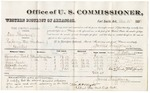 1880 December 10: Voucher, U.S. v. One Schevane, rape in the Indian Country; includes cost of per diem and mileage; Alexander Rodd, Noxala, Lizzie Noxala, Elizabeth Noxala, and Peter Lincoln, witnesses; George H. Williams and J.M. Huffington, witness of signatures; William H.H. Clayton, U.S. district attorney; V. Dell, U.S. marshal; James Brizzolara, commissioner