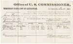 1880 December 24: Voucher, U.S. v. James Easam, larceny in the Indian Country; includes cost of per diem and mileage; William Lane, G.W. Shockey, and James Haygard, witnesses; V. Dell, U.S. marshal; Stephen Wheeler, commissioner