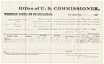 1881 January 7: Voucher, U.S. v. Sam Vann, larceny in the Indian Country; includes cost of per diem and mileage; Stepheny Dawn and Harry Jackson, witnesses; G.H. Williams, witness of signatures; V. Dell, U.S. marshal; James Brizzolara, commissioner