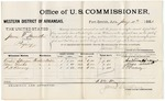 1881 January 11: Voucher, U.S. v. James E. Hamilton, perjury; includes cost of per diem and mileage; Austin Sprague, Moses Woods, and P.H. Rooney, witnesses; V. Dell, U.S. marshal; James Brizzolara, commissioner
