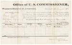 1881 January 13: Voucher, U.S. v. Thomas Lanse, introducing spirituous liquors in Indian Country; includes cost of per diem and mileage; John Boston, witness; V. Dell, U.S. marshal; James Brizzolara, commissioner