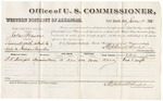 1881 January 14: Voucher, U.S. v. John Benson, assault with intent to kill in Indian Country; includes cost of per diem and mileage; Fred T. Dwight, witness; V. Dell, U.S. marshal; Stephen Wheeler, commissioner