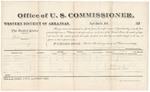1881 April 5: Voucher, U.S. v. Gibson Roberts, larceny; includes cost of per diem and mileage; Ellen McGee and Miles Bond, witnesses; John G. Farr, witness of signatures; V. Dell, U.S. marshal; Zara L. Cotton, commissioner