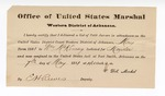 1881 May 7: Letter of certification, from V. Dell, U.S. marshal, certifying his deliverance of list of petit jurors for U.S. v. William McKinney, murder; E.H. Reeves, deputy