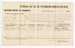 1881 June 8: Voucher, U.S. v. John C. Dill, introducing spirituous liquors into Indian Country; includes cost of per diem and mileage; William Maloney and Sanford Beatty, witnesses; G.H. Williams, witness of signatures; V. Dell, marshal; James Brizzolara, commissioner