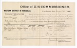 1881 August 16: Voucher, U.S. v. Moses Douglas, introducing spirituous liquors into Indian Country; includes cost of per diem and mileage; Ellick Worthen and John Jeffries, witnesses; G.H. Williams, witness of signatures; V. Dell, U.S. marshal; James Brizzolara, commissioner