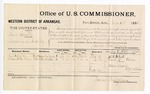 1881 August 18: Voucher, U.S. v. Lewis Smith, larceny in the Indian Country; includes cost of per diem and mileage; G.L. White and Frank Aiken, witnesses; F.G. Sticken, witness of signatures; V. Dell, U.S. marshal; James Brizzolara, commissioner