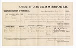 1881 August 26: Voucher, U.S. v. John Possen, larceny in the Indian Country; includes cost of per diem and mileage; F.M. Watkins, Alex Brown, and William McLain, witnesses; V. Dell, U.S. marshal; James Brizzolara, commissioner