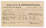1881 September 3: Voucher, U.S. v. Albert Gamble, introducing spirituous liquors into Indian Country; includes cost of per diem and mileage; Jack Ford, J.D. Wilson, Thomas Yadee, and Wright Stonecipher, witnesses; G.H. Williams, witness of signatures; V. Dell, U.S. marshal; Stephen Wheeler, commissioner