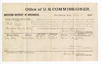 1881 September 8: Voucher, U.S. v. Potato Come, introducing spirituous liquors in the Indian Country; includes cost of per diem and mileage; No Billy, witness; G.H. Williams, witness of signature; V. Dell, U.S. marshal; James Brizzolara, commissioner