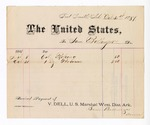 1881 October 31: Voucher, to Sam Bollinger; includes cost of cotton roping and brooms; V. Dell, U.S. marshal