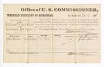 1881 November 25: Voucher, U.S. v. Thomas Seraper and Daniel Welch, introducing spirituous liquors; includes cost of per diem and mileage; John Vann, witness; V. Dell, U.S. marshal; Stephen Wheeler, commissioner