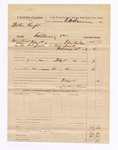 1883 February 12: Partial Voucher, U.S. v. Walker Knight, introducing spirituous liquor in Indian Country; includes costs of feeding one prisoner, mileage and service of warrant; Laukard Kinney, guard; Elias Andrew, deputy marshal; E.B. Harrison, commissioner