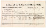 1882 July 11: Voucher, U.S. v. George Summers and One Rollins, larceny in Indian Country; includes costs of mileage and per diem for witnesses; John Kemp, Joe Smith, J.J. Smith, witnesses; John Paterson, witness of signatures; received of Thomas Boles, U.S. marshal; James Brizzolara, commissioner