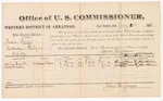 1882 July 20: Voucher, U.S. v. Madison Brown, introducing spirituous liquor in Indian Country; includes costs of mileage and per diem for witnesses; Henry Ward, Zack Cheadles, witnesses; John Paterson, witness to signatures; received of Thomas Boles, U.S. marshal; James Brizzolara, commissioner