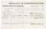 1882 July 20: Voucher, U.S. v. Jeff Vinn, introducing spirituous liquor in Indian Country; includes costs of mileage and per diem for witnesses; Edmund Lewis, George Jones, witnesses; John Paterson, witness to signatures; received of Thomas Boles, U.S. marshal; Stephen Wheeler, commissioner