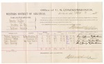 1882 October 13: Voucher, U.S. v. Sindy Lucky, larceny in Indian Country; includes costs of mileage and per diem for witnesses; Gabriel Jamison, Samuel Ackey, Jake Bruner, Ben Bowlegs, witnesses; John Paterson, witness to signature; received Stephen Wheeler, commissioner