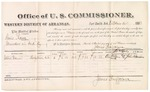 1882 October 14: Voucher, U.S. v. Louis Rowe, murder in Indian Country; includes costs of mileage and per diem for witness; Crow Vann, witness; John Paterson, witness to signature; received of Thomas Boles, U.S. marshal; James Brizzolara, commissioner