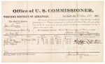 1882 October 18: Voucher, U.S. v. John Fowler, introducing spirituous liquor into Indian Country; includes costs of mileage and per diem for witnesses; J.D. Lowe, William Hogue, J.M. Hogue, witnesses; John Paterson, witness to signature; received of Thomas Boles, U.S. marshal; James Brizzolara, commissioner