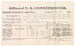 1882 October 17: Voucher, U.S. v. One Lohma and One Hurly, introducing spirituous liquor into Indian Country; includes costs of mileage and per diem for witnesses; John Childers, Joseph Phipps, Andrew Young, J.B. Sanders, Crossland Lee, David Goff, witnesses; John Paterson, witness to signatures; received of Thomas Boles, U.S. marshal; James Brizzolara, commissioner