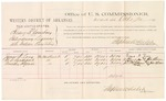 1882 October 20: Voucher, U.S. v. Henry D. Courtney, introducing spirituous liquor in Indian Country; includes costs of mileage and per diem for witnesses; James N. Long, M.D. Sanderfeet, Timothy Ingram, witnesses; John Paterson, witness of signatures; received of Thomas Boles, U.S. marshal; Stephen Wheeler, commissioner