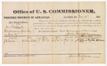 1882 December 16: Voucher, U.S. v. One Hubbard, introducing spirituous liquor in the Indian Country; includes costs of mileage and per diem for witness; J.E. Couele, witness; John Paterson, witness to signature; received of Thomas Boles, U.S. marshal; James Brizzolara, commissioner