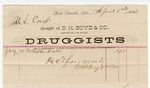 1883 April 02: Voucher, to C.H. Boyd and Co., wholesale and retail druggists; includes cost for one feather duster for use of court room; paid by Thomas Boles, U.S. marshal