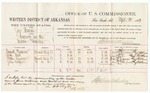 1883 April 26: Voucher, U.S. v. Joe Thomas, larceny in the Indian Country; includes costs of mileage and per diem for witnesses; Samuel Foreman, Jerry Reed, Allen Sizemore, John Blaycock, witnesses; C.M. Barnes, witness to signatures; received of Thomas Boles, U.S. marshal; Stephen Wheeler, commissioner and clerk; William H.H. Clayton, U.S. attorney