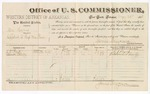1883 May 25: Voucher, U.S. v. One Harry, affidavit to keep the peace; includes costs of per diem for witnesses; E.J. Pond, Edward Stanley, witnesses; received of Thomas Boles, U.S. marshal; James Brizzolara, commissioner