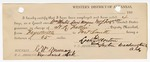 1883 June 20: Partial Voucher, U.S. v. William Morton and W.J. Ferguson, violating internal revenue laws; includes costs of mileage on writ, 1 day feeding 1 prisoner; G.W. Murray, witness of signatures; served by H.L. Fallin, deputy marshal; E.B. Harrison, commissioner; Lock Morton, guard