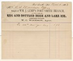1883 November 1: Voucher, to Thomas Boles; includes cost of ice; Thomas Boles, U.S. marshal; W.C. Woodson, agent for William J. Lemp's Fort Smith Branch