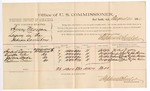 1884 August 20: Voucher, U.S. v. Henry Morgan, larceny in the Indian Country; includes cost of per diem and mileage; Herbert Quincy, Byington Gates, Jackson Wade, Eastman Collins, witnesses; John Paterson, witness of signatures; Stephen Wheeler, commissioner; Thomas Boles, U.S. marshal