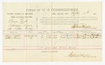 1885 September 12: Voucher, U.S. v. George Dick, introducing liquors into the Indian Country; includes costs of per diem and mileage; Charles Pritchett, William Greese, witnesses; John Paterson, witness of signatures; Thomas Boles, U.S. marshal; Stephen Wheeler, commissioner and clerk