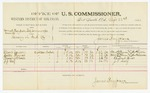 1885 September 22: Voucher, U.S. v. Samuel Thompson, Bill Simmons, and George Edwards, larceny in Indian Country; includes per diem and mileage; Albert Carson, Walter Thomas, Pleasnt Shoals,  J.G. Self, witnesses; John Paterson, witness to signatures; Thomas Boles, U.S. marshal; James Brizzolara, U.S. commissioner; Stephen Wheeler, clerk
