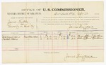 1885 September 22: Voucher, U.S. v. James Murphy, larceny in Indian Country; includes costs of per diem and mileage; Margaret Davis, Rachel Davis, witnesses; John Paterson, witness of signatures; Thomas Boles, U.S. marshal; James Brizzolara, U.S. commissioner