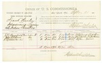 1885 September 26: Voucher, U.S. v. Frank Stanley, introducing liquors into Indian Country; includes costs of per diem and mileage; J.B. Brassfield, John Kitchens, Stephen Farrill, witnesses; Thomas Boles, U.S. marshal; Stephen Wheeler, commissioner