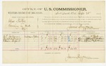1885 September 28: Voucher, U.S. v. Charles Horton, larceny in Indian Country; includes costs of per diem and mileage; Henry T. Jackman, Raymond Bryant, William Bryant, witnesses; John Paterson, witness to signatures; James Brizzolara, U.S. commissioner; Thomas Boles, U.S. marshal