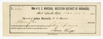 1885 December 23: Voucher, U.S. v. Jesse Pigeon, introducing spirituous liquors into Indian Country; includes cost of discharging prisoner; Stephen Wheeler, commissioner and clerk; S.A. Williams, deputy clerk; Sam Wingo, deputy marshal; attached, receipt of John Carroll, U.S. marshal, for feeding prisoners
