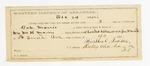 1885 December 24: Letter of certification, from Russhul Tuckes, guard, certifying his employment guarding over Bob Morris, U.S. prisoner; William McHarris, U.S. deputy marshal