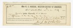 1886 January 20: Receipt, of John Carroll, U.S. marshal; includes cost of expenses paid for use of horse; William Morgan, subpoena served; James J. McAlester; attached, voucher, U.S. v. Luce Hammon, et.al, murder; includes cost of subpoena for government witness and mileage; Alfred McKay, special deputy; E.H. Doyle, commissioner for the state of Michigan; attached, voucher, U.S. v. John M. Floyd and Levi Lumly, assault with intent to kill in the Indian County; includes cost of warrant, mileage, and feeding prisoners; Stephen Wheeler, commissioner; J.E. Richardson, deputy marshal; William How, guard; Nealey Priest, Miller Gazelle, T.A. Carwell, Clide Villups, witnesses; attached, voucher, U.S. v. Jeff Hilderbrand, murder; includes cost of subpoenas for witnesses and mileage; Mary Ridgeway, Wesley Waller, Julius Summons, Wesley McEwin, Charley Slaughter, witnesses